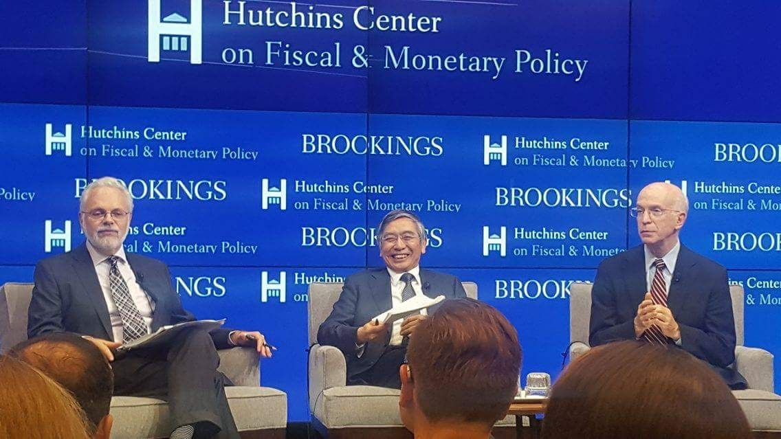 David Wessel on the left. Haruhiko Kuroda in the middle. Alan Blinder on the right. Photo credit: Kenneth Tjonasam